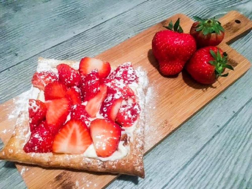 Aardbeien & Cream in bladerdeeg