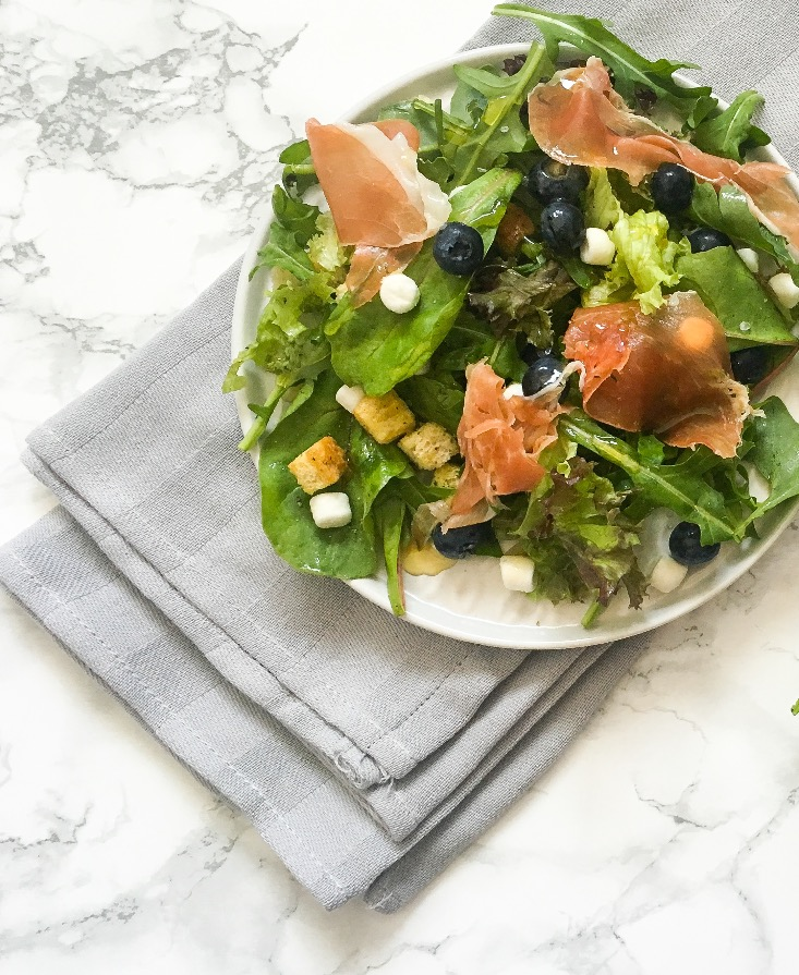 Salade geitenkaas met proscuitto
